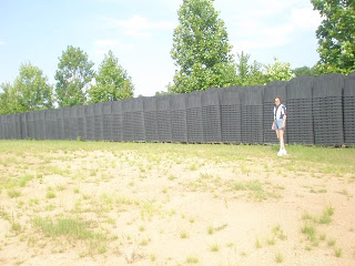 Sherrie Wilcox Standing Next to FEMA Coffins