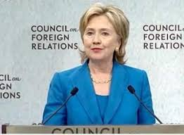"The Council of Foreign Relations is no longer a secret and this is who Hillary Clinton serves. Look at the background behind Mrs. Clinton. This is how the CFR gives tacit approval. No matter how criminal, no matter how long the trail of bodies becomes, the CFR is ""all in"" for their support of America's modern day version of Lizzy Borden."