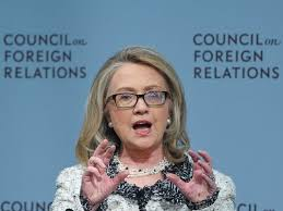 Please note the background behind Clinton. She serves Richard Haass and the Council on Foreign Relations.