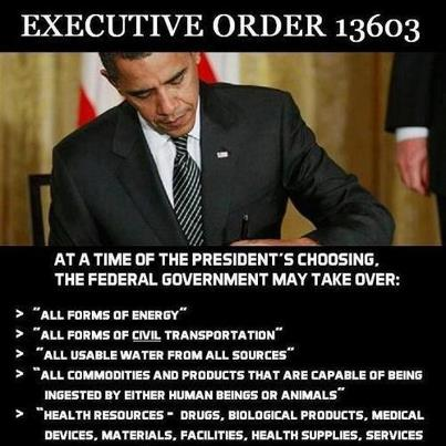 "According to EO 13603, the President, or the head of any federal agency that he shall designate, can conscript ""persons of outstanding experience and ability without compensation,"" in both ""peacetime and times of national emergency."" I can hear the Obama supporters now as they will write to me and say, ""Obama would never do that, you are drinking from the Kool-Aid"". Well, here it is, you can read it for yourself. Sec. 502. Consultants. The head of each agency otherwise delegated functions under this order is delegated the authority of the President under sections 710(b) and (c) of the Act, 50 U.S.C. App. 2160(b), (c), to employ persons of outstanding experience and ability without compensation and to employ experts, consultants, or organizations. The authority delegated by this section may not be redelegated. This means that Obama, and his fellow communists, can seize any resource, property, or person at any time for any reason, including being able to force that person to perform assigned labor without being paid. There is only ONE word for forced, ""uncompensated employment"". That would is slavery. Congratulations President Obama, you have effectively repealed the 13th Amendment to the Constitution. Section 601 of the act specifies, in part, how far the government can go in terms of making you their slave. Sec. 601. Secretary of Labor. (a) The Secretary of Labor, in coordination with the Secretary of Defense and the heads of other agencies, as deemed appropriate by the Secretary of Labor, shall: (1) collect and maintain data necessary to make a continuing appraisal of the Nation's workforce needs for purposes of national defense; (2) upon request by the Director of Selective Service, and in coordination with the Secretary of Defense, assist the Director of Selective Service in development of policies regulating the induction and deferment of persons for duty in the armed services; (3) upon request from the head of an agency with authority under this order, consult with that agency with respect to: (i) the effect of contemplated actions on labor demand and utilization; (ii) the relation of labor demand to materials and facilities requirements; and (iii) such other matters as will assist in making the exercise of priority and allocations functions consistent with effective utilization and distribution of labor; (4) upon request from the head of an agency with authority under this order: (i) formulate plans, programs, and policies for meeting the labor requirements of actions to be taken for national defense purposes; and (ii) estimate training needs to help address national defense requirements and promote necessary and appropriate training programs If the above section was merely going to be a military draft, then the Secretary of Labor would not have to be involved. However, as you will note the ""Secretary of Labor, in coordination with the Secretary of Defense and heads of other agencies, as deemed appropriate by the Secretary of Labor, shall: …assist in the development of policies regulating the induction and deferment of persons for duty in the armed services;… formulate plans, programs, and policies for meeting the labor requirements of actions to be taken for national defense purposes; and (ii) estimate training needs to help address national defense requirements and promote necessary and appropriate training programs…"". Refer back to section 502 of sections 710(b) and (c) of the Act, 50 U.S.C. App. 2160(b), (c); these are the people that the Secretary of the Labor will conscript in order ""to employ persons of outstanding experience and ability without compensation and to employ experts, consultants, or organizations"". This, my fellow Americans, is a civilian conscription and this is why the Secretary of Labor is in charge instead of the head of the Selective Service! Under these provisions, the government believes that they can send you anywhere, to work on anything of their choosing."