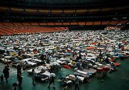 The new Orleans Superdome during Hurricane Katrina.