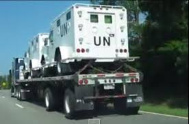 Sightings of these vehicles have been widely reported beginning last Spring.  And this has led some to suspect that an occupation force is being mobilized.