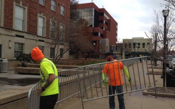 #Ferguson  Erecting Barricades In Front of Courthouse and St. Louis Police Headquarters