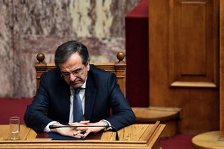 Prime Minister Antonis Samaras said he would ask President Karolos Papoulias to dissolve Parliament to make way for early elections. Credit Aris Messinis/Agence France-Presse — Getty Images