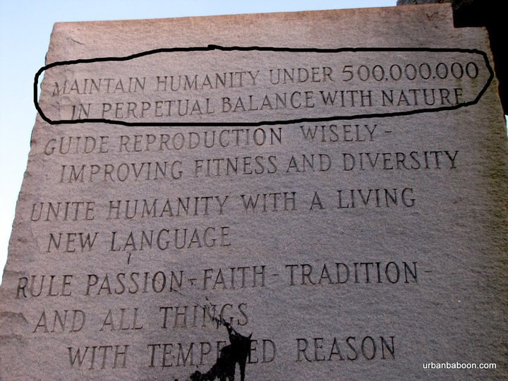 The Georgia Guidestones declares that humanity will be reduced by 90%.