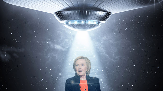 Illustration by Ivylise Simones; Clinton: Brian Cahn/Zuma; UFO: Fer Gregory/Shutterstock