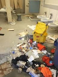 Like Walmart, perhaps prison authorities must close the prison for 6 months to repair the plumbing.  Again, this is vandalism, the structural integrity of prison is intact.