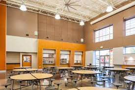 Prison dining hall of school lunchroom cafeteria? Answer? This is where elementary school kids eat their lunch.