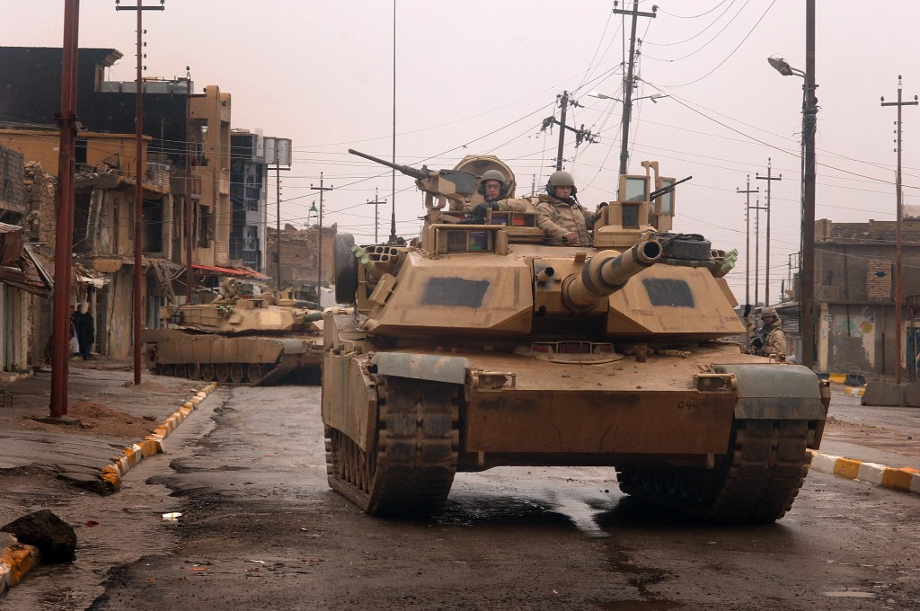 U.S. Army M1 Abrams tanks from the 3rd Armored Calvalry Regiment conduct a combat patrol in the city of Tal Afar, Iraq, Feb. 3, 2005. (U.S. Air Force photo By Staff Sgt. Aaron Allmon) (Released)