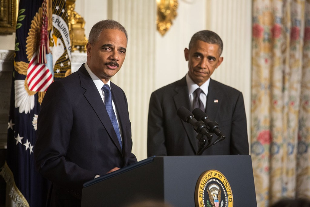 Attorney General Eric H. Holder Jr., delivers remarks following President Barack Obama's statement announcing Holder's departure, in the State Dining Room of the White House, Sept. 25, 2014. Attorney General Holder will remain at the Department of Justice until his post is filled. (Official White House Photo by Chuck Kennedy)